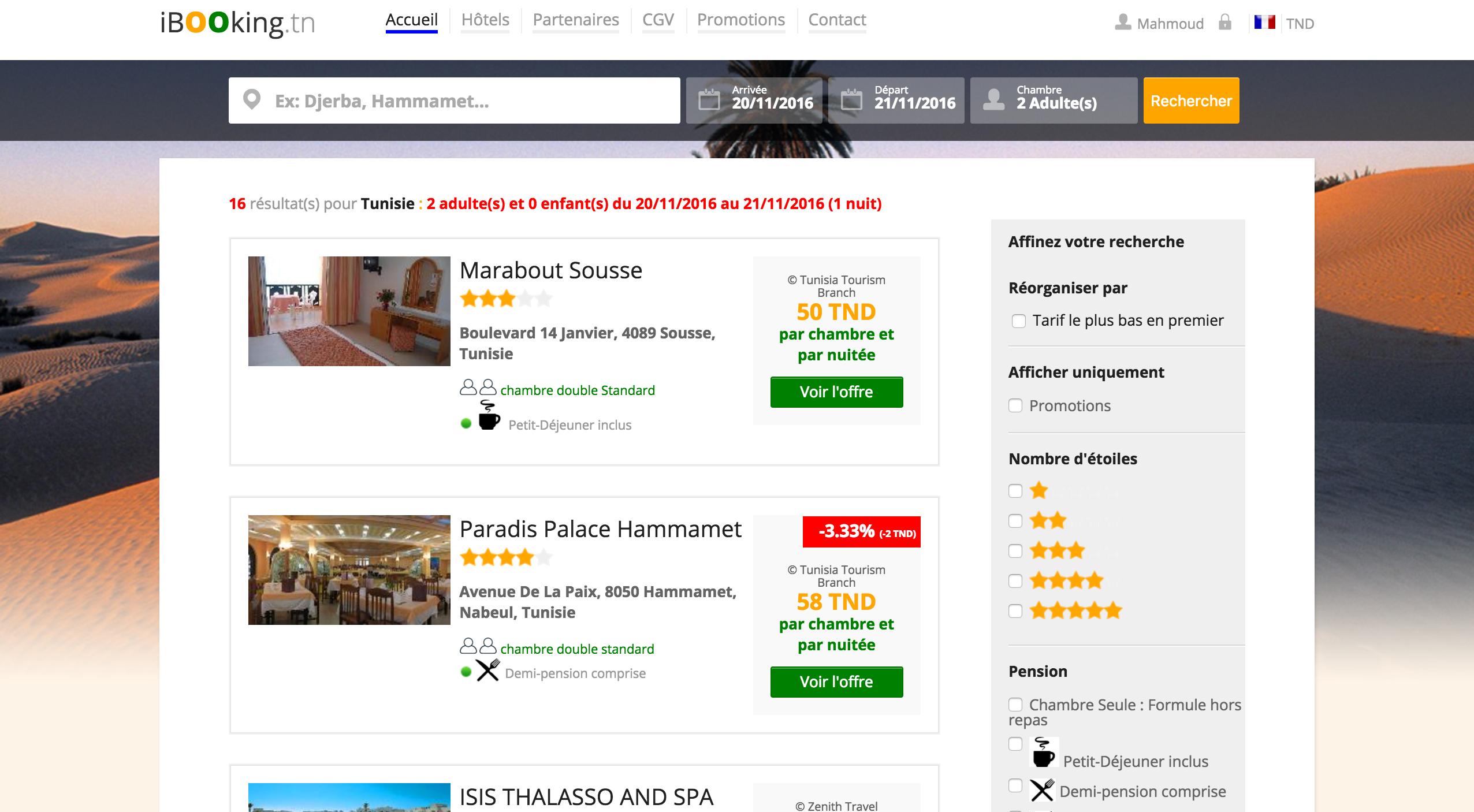 Recherchez les meilleurs h tels de tunisie au for Meilleur comparateur de prix hotel